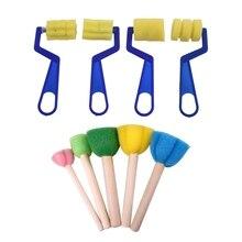 9 шт. губка краски кисти игрушки деревянная ручка печать губка кисти Дети Рисование краски ing граффити кисти школьные принадлежности