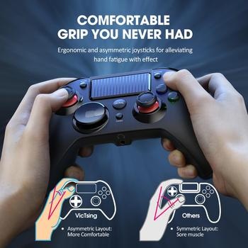 Pictek Wireless Gaming Controller for PS4/PC Rechargeable Gamepad with Audio Port/Dual Vibration/Turbo Linear Trigger Joypad 5