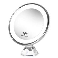 10X увеличительное косметическое зеркало портативный с светодиодный присоской 360 ° вращающийся макияж увеличительное стекло домашний рабочий стол Bathr