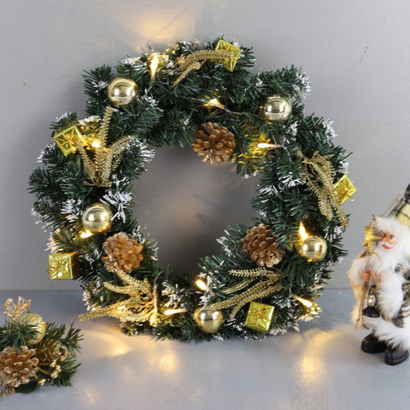 Christmas Wreath With Battery Powered LED Light String Front Door Hanging Garland Holiday Home Decorations Vc