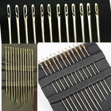 12pcs Self-Threading Sewing Needles Set Assorted Sizes Stainless Steel Big Eye Stitching Pins for DIY Bracelet Jewelry Making