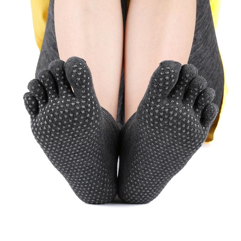 Women 5 Toe Yoga Socks For Woman Sport Dance Five Fingers Fitness Sock Anti Slip Silicone Pilates Cotton Ballet Socken Hot Warm