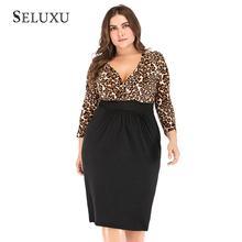 Seluxu 2019 Autumn Plus Size Women Dress Sexy V-Neck Leopard Patchwork Large Long Sleeve