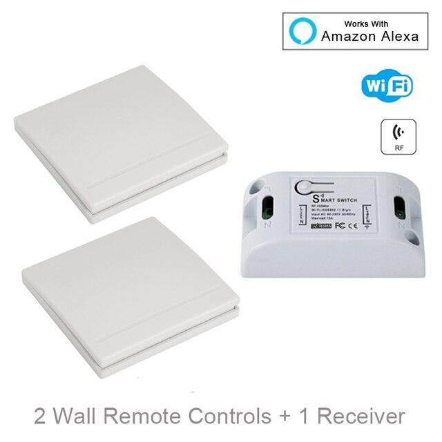 QIACHIP Wifi ワイヤレスウォールライト 433 433mhz の Rf リモコン受信 Led ランプスイッチ Amazon で動作 alexa DIY