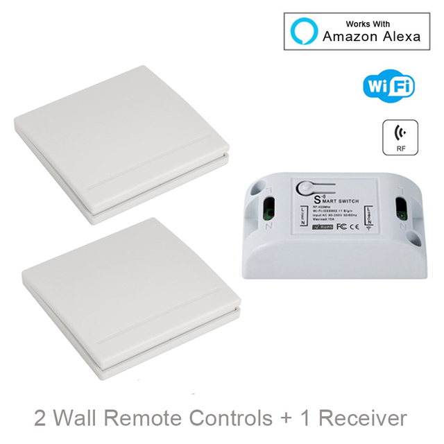 QIACHIP Wifi Wireless Wall Light Switch Smart Home 433Mhz RF Remote Control Receiver Led Lamp Switch Work With Amazon Alexa DIY