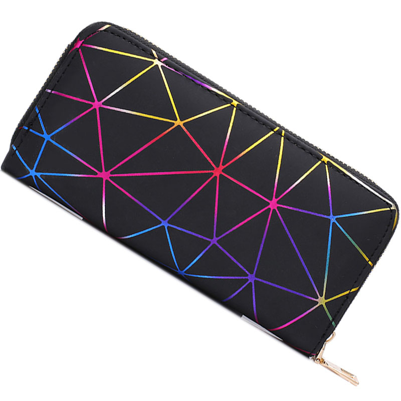 Women Wallets 2019 New Brand Geometry Luminous Clutch Long Female Zipper Phone Bag High Capacity Women Coin Purse Holders Hot