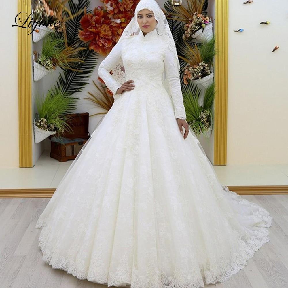 Liyuke Stunning Arabic Bridal Muslim Wedding Dress With Long Sleeve Wedding Gown Full Covered