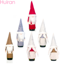 HUIRAN Merry Christmas Wine Bottle Cover Event Party Decorations For Home Table Dinner Decor Ornaments Natal