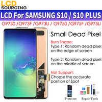 Amoled małe martwe piksele do SAMSUNG Galaxy S10 LCD G973F G973FD wyświetlacz S10 + Plus G975F G975FD montaż digitizera ekranu dotykowego