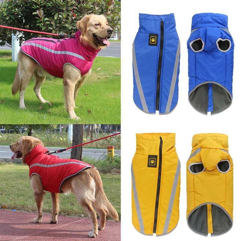 Su geçirmez köpek giysileri büyük köpekler için kış sıcak büyük köpek ceketler yastıklı polar evcil Coat güvenlik yansıtıcı tasarım köpek giyim