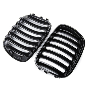Image 3 - 2Pcs Gloss Black Car Front Kidney Grill Grilles Right & Left for BMW X5 E53 2004 2005 2006 ABS 51137124815 51137124816