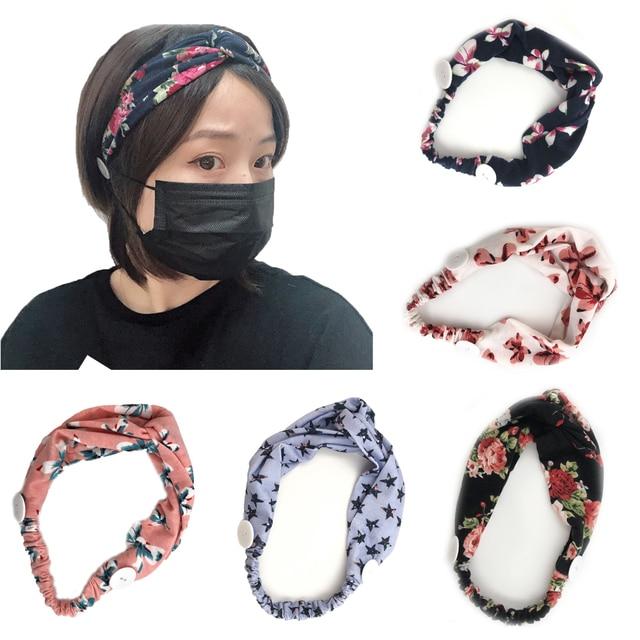 Sweat Hair Bands Head Belt Flower Mask Anti-earache Girls Women Yoga Running Fitness Sports Hair Accessories