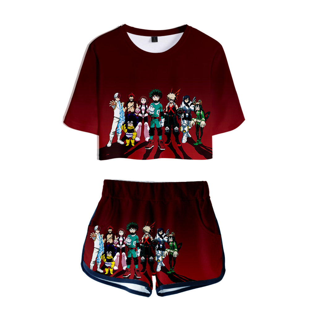 My Hero Academia Four Two Piece Sets  3D Short Sleeve T-shirt Women Fashion Summer Personality Cloth Casual Sexy Girls Clothes