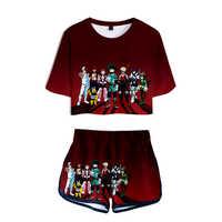 My Hero Academy, комплект из четырех предметов, 3D футболка с коротким рукавом, женская модная летняя одежда, повседневная сексуальная одежда для де...
