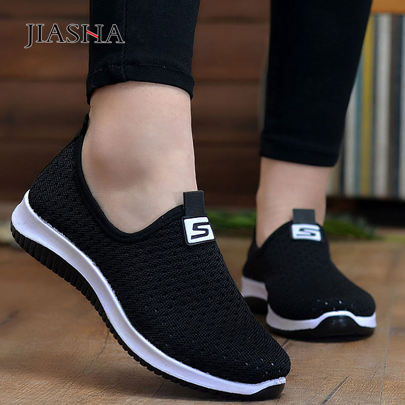 New Women's Vulcanize Shoes Woman Sneakers Flat With Breathable Mesh Loafers Women Shoes Slip-on Female Shoes Zapatos De Mujer