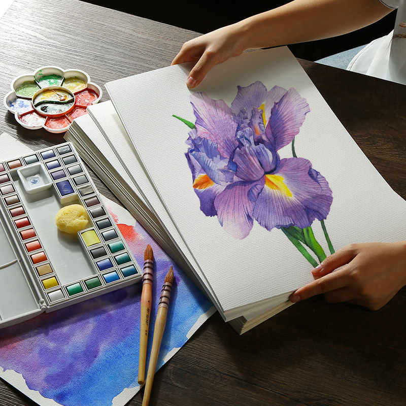 Professional Watercolor Gouache Painting Paper 20Sheets Water Color Transfer Paper For Beginner Hand Painted Watercolor Book