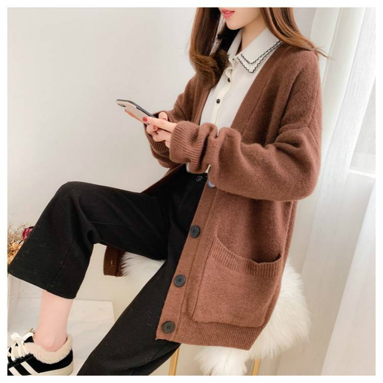 Woherb Black Knitted Sweater Women V Neck Long Sleeve Solid Color Cardigan Vintage Harajuku Casual Loose Tops Fashion New 90728 18