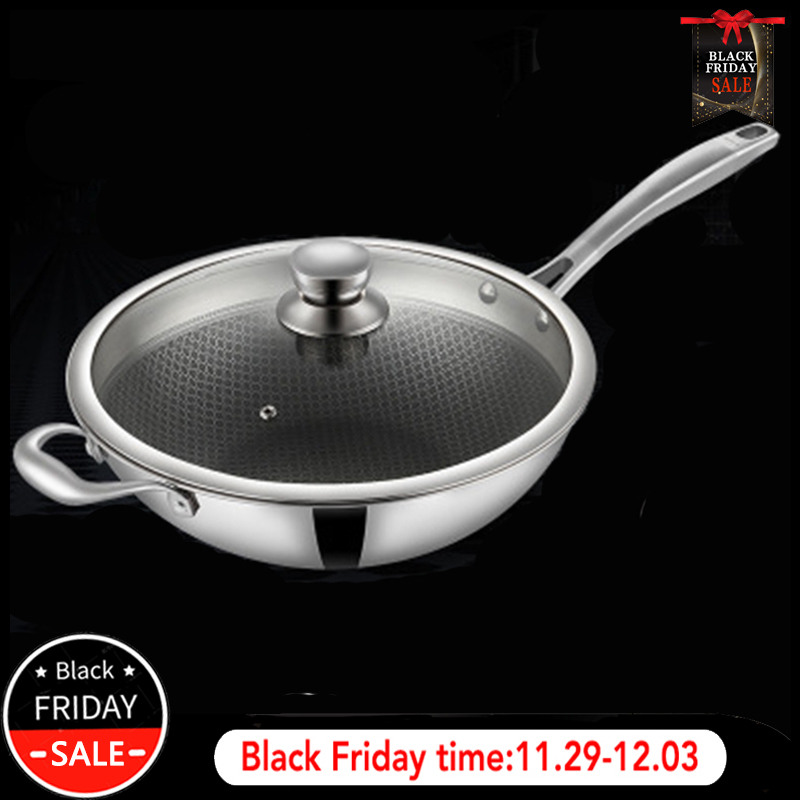 CAKEHOUD 34cm Household Non-stick Pan Smokeless Wok Kitchen Cooking Pan Glass Cover Long Handle Gas Cooker Universal Cookware