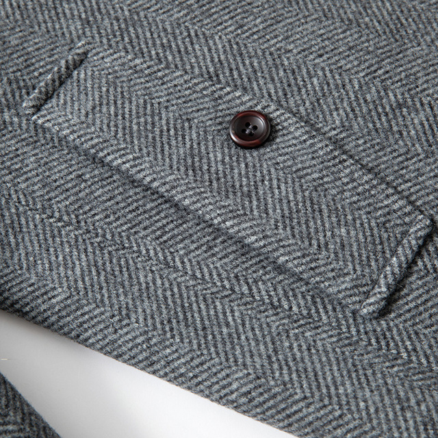Мужское шерстяное пальто из смешанной ткани с атласной подкладкой осень-весна 5