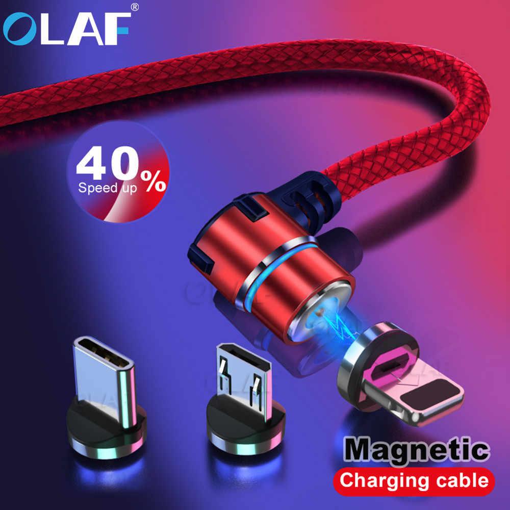 OLAF magnetyczny 90 stopni mi cro kabel USB typu C do Iphone 7 8 Plus X XS Max dla Xiao mi czerwony mi uwaga 7 mi 8 dla Samsung S8 S9 Plus