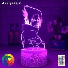 Mais novo uchiha sasuke anime figura 3d led night light controle remoto lâmpada de mesa do bebê crianças aniversário natal quarto decoração