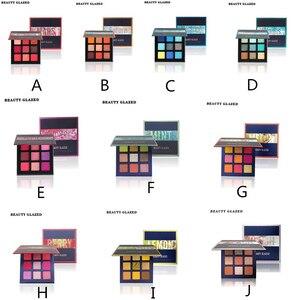 Image 3 - Schönheit Glasierte Make Up Lidschatten Pallete make up pinsel 9 Farbe Schimmer Pigmentierte Lidschatten Palette Make up Palette maquillage