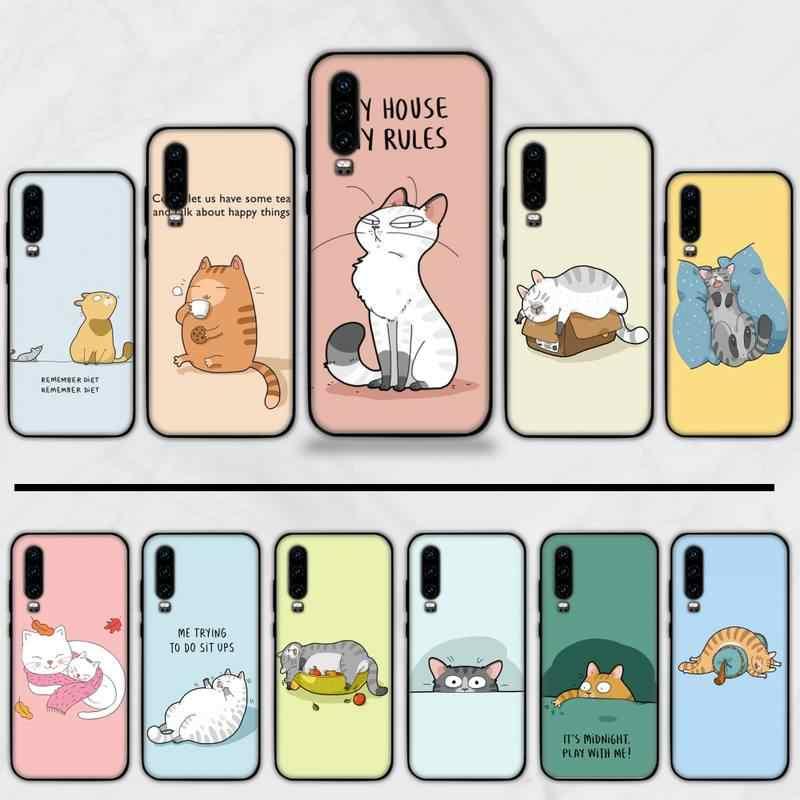 Carino Cassa Del Telefono del gatto del fumetto Per Huawei Y5 Y6 II Y7 Y9 PRIME 2018 2019 NOVA3E P20 PRO P10 Honor 10