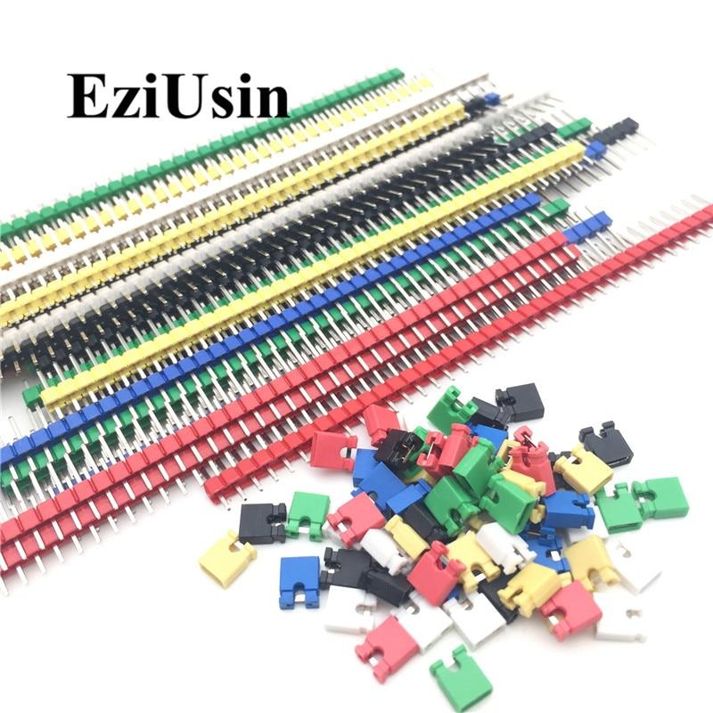 90 pçs/lote 2.54 40 Pin 1x40 Single Row Masculino Breakable Pin Header Conector Faixa & Blocos de Jumper para arduino Colorido 2.54 milímetros