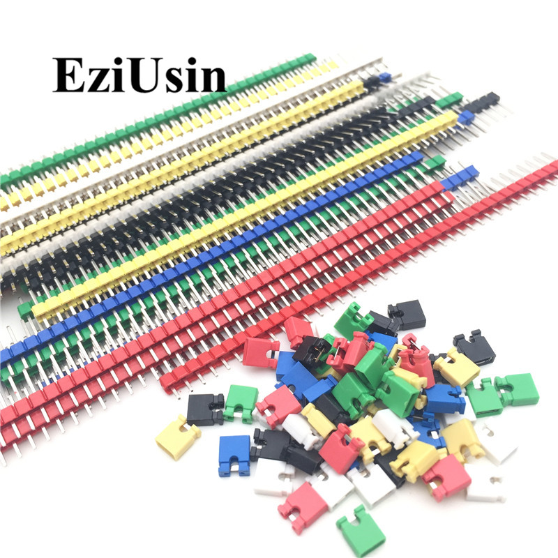 90pcs/lot 2.54 40 <font><b>Pin</b></font> 1x40 Single Row Male Breakable <font><b>Pin</b></font> <font><b>Header</b></font> Connector Strip & <font><b>Jumper</b></font> Blocks for Arduino Colorful 2.54mm image