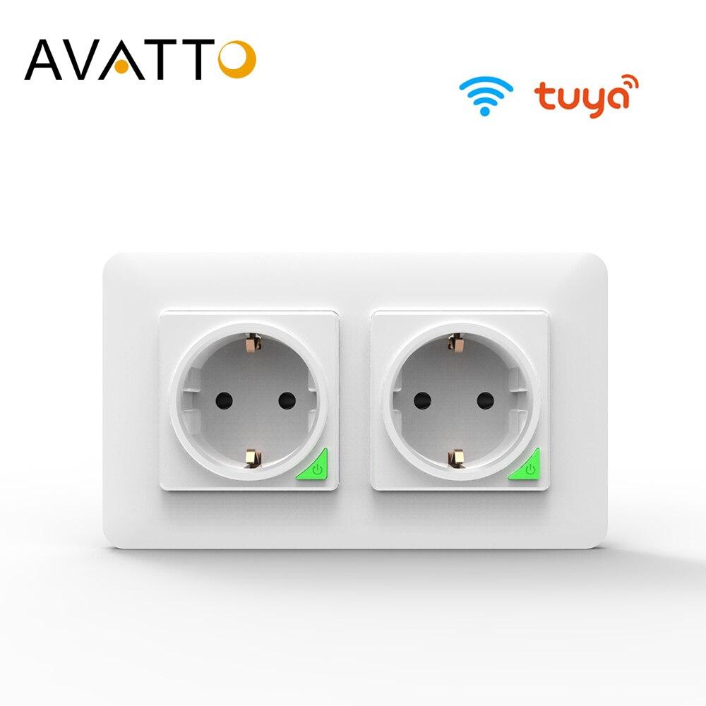 AVATTO Tuya 16A EU WiFi Smart Wall Socket Smart Life APP Remote Control Wifi Power Plug Smart Outlet Work for Google Home Alexa