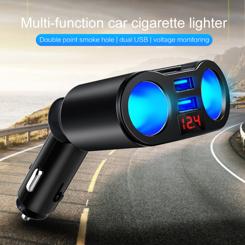 Car Accessories 12V Car Cigarette Lighter Socket USB One For Three Car Charger LED Display 5V3.1A Auto Car USB Phone Charger