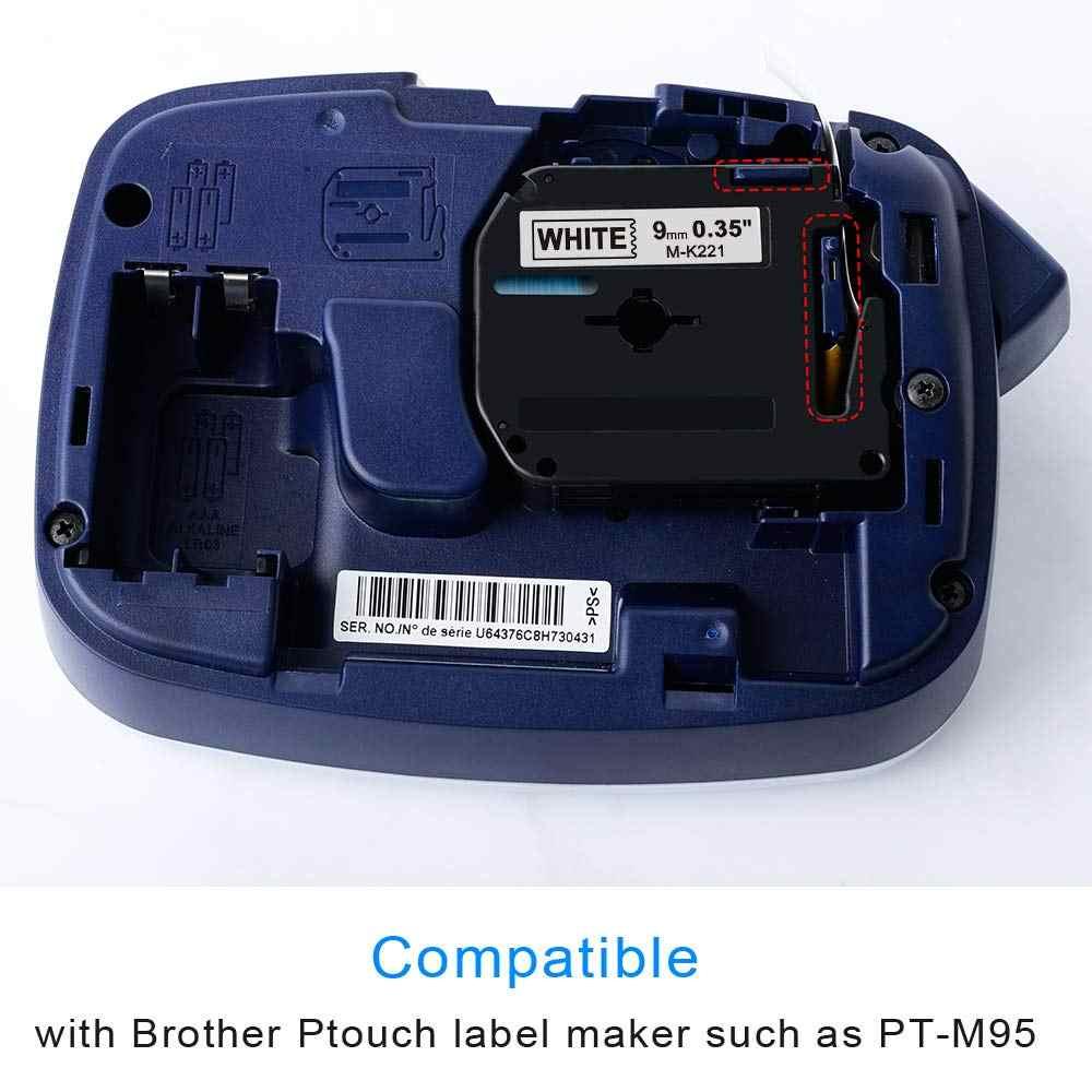 1PC 9 Mm * 8 M M-K221 M-K121 M-K621 M-K421 Hãng Băng Đĩa Tương Thích Cho P-Touch Nhãn máy In Nơ M-K221 MK-221 MK221 MK221