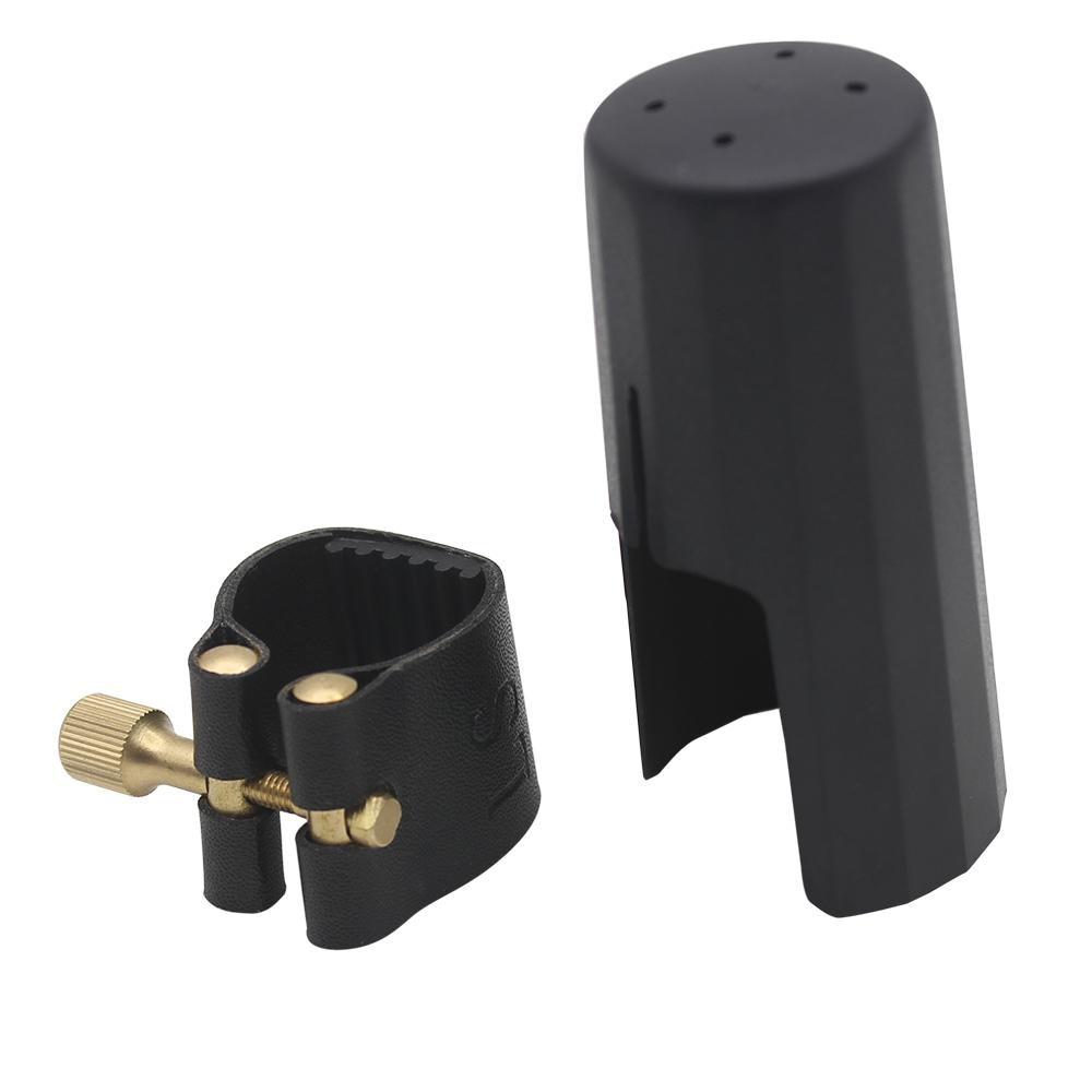 Professional Artificial Leather Sax Saxophone Clarinet Bakelite Mouthpiece Clamp Clip Ligature Plastic Cap Instrument Accessory