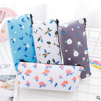 Creative Colorful Pencil Case Cute Canvas Flower Pen Bag Box Pouch Kawaii Laege Capacity Pencilcase School Stationary 050025