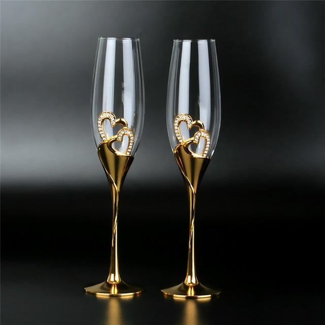 2Pcs/Set Crystal  Gold Metal Stand Flutes Wine Glasses  1