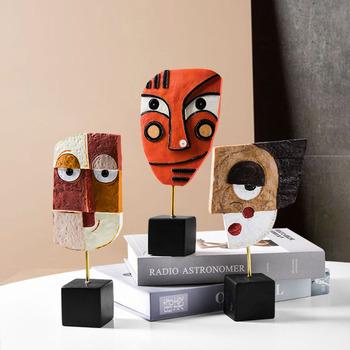 Abstrakcyjne figurki twarzy Art Nordic Ornament dekoracja wnętrz rzemiosło żywiczne nowoczesny salon akcesoria do dekoracji wnętrz biurowych tanie i dobre opinie CN (pochodzenie) Ludzi Nowoczesne Żywica Resin Crafts home decoration Abstract face art ornament