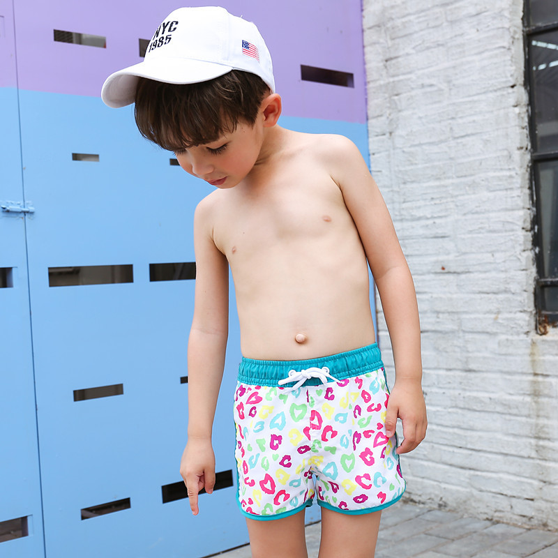 New Style KID'S Swimwear Big Boy Green Printing Lace-up Cute Men And Women Child-Style Beach Shorts Hot Springs Swimming Trunks