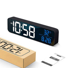 Large Screen LED Digital Alarm Clock Luminous Desktop Timer Temperature Display Alarm Clock With Music LED Desktop Digital Clock
