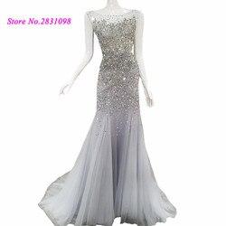 Серебряное роскошное вечернее платье со стразами Abendkleider 2020 с открытой спиной длинное женское платье для выпускного вечера Vestido de Noche