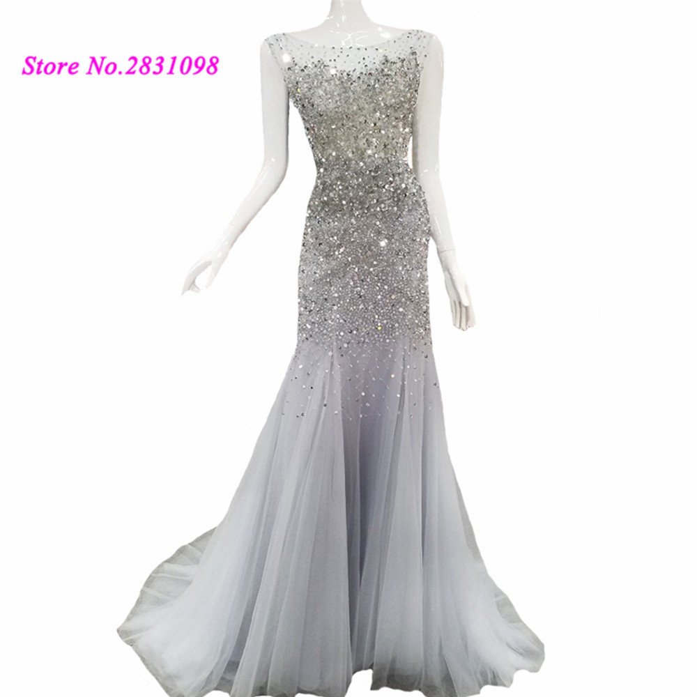 Silver Beaded Luxury Evening Dresses Crystals Abendkleider 2020 Open Back Mermaid Long Women Prom Dress Vestido De Noche