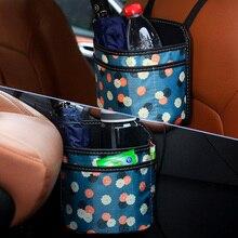 Mini Car Trash Can Bin with Lid Organizer Garbage Holder Universal Folding Vehicle Supplies Bucket Garbage Auto Accessories