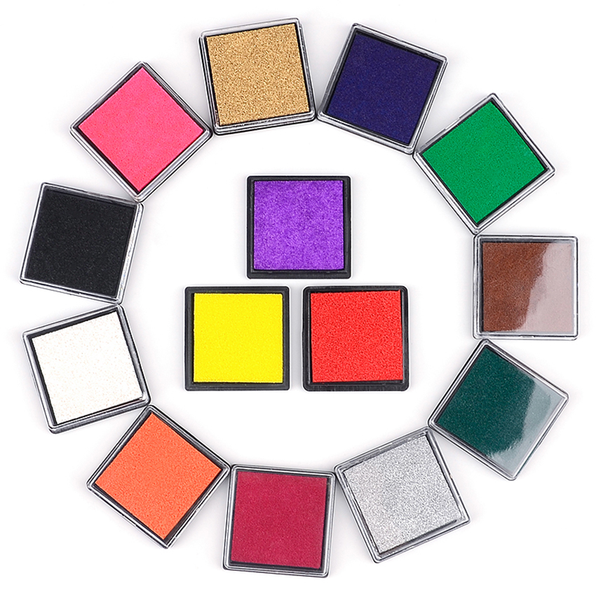 1PC Craft Ink Pad Stamps Partner DIY Color Rainbow Finger Ink Pad For Kid's Making Scrapbooking Card, Paper, Rubber Stamp, 4X4cm