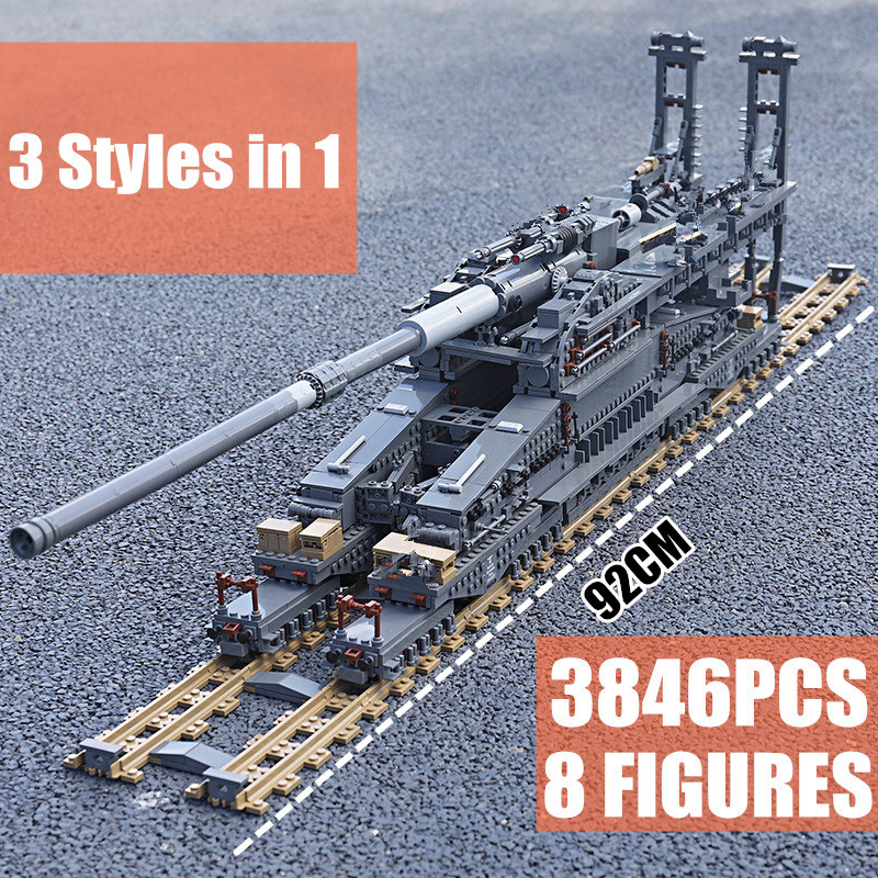 New 3846PCS Military Toys German The Heavy Gustav K[E] Railway Gun