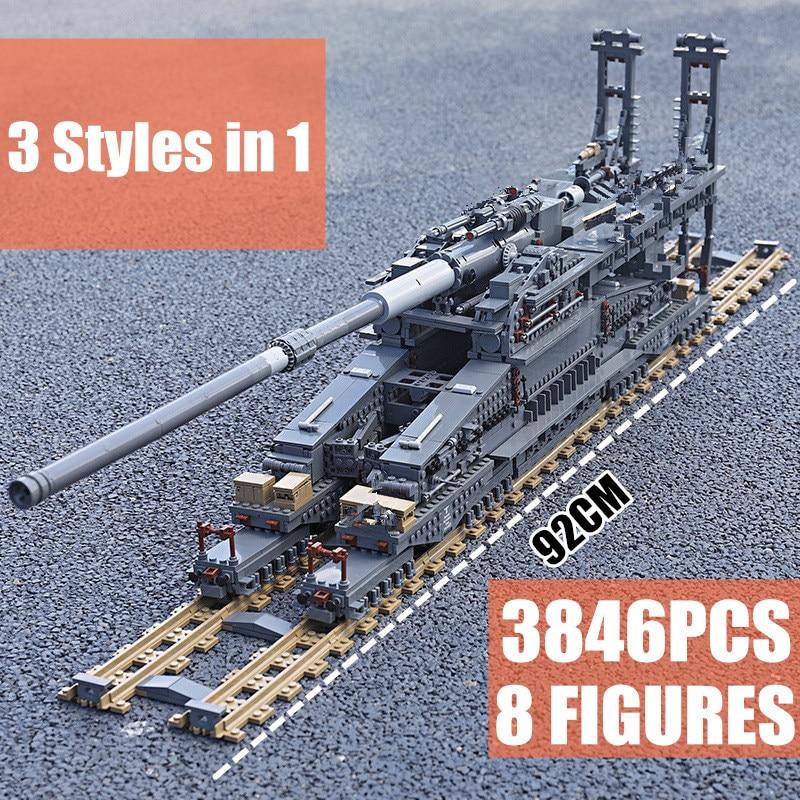 New 3846PCS Military Toys German The Heavy Gustav K[E] Railway Gun