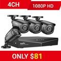 Sannce ru afastamento 1080 p 4ch sistema de cctv segurança 4 pces 1080 p ao ar livre à prova de intempéries câmera de vigilância de vídeo em casa kit