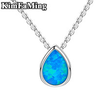 Small Acute 925 Silver Pear Shape Opal Pendant Necklaces Jewelry for Young Girls Cute Casual Birthday Fine Jewellery OPP137