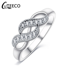 CUTEECO Part Brand Rings Wedding Engaged Jewelry Gifts 2019 New Silver Color Infinity Ring For Women Cubic Zirconia Finger