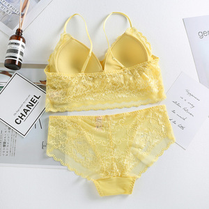 Image 5 - High Quality Lace Underwear Set Yellow Lace Bra Set Noble Girl Lingerie Set Push Up Bralette Women Triangle Cup Bra & Panty Set