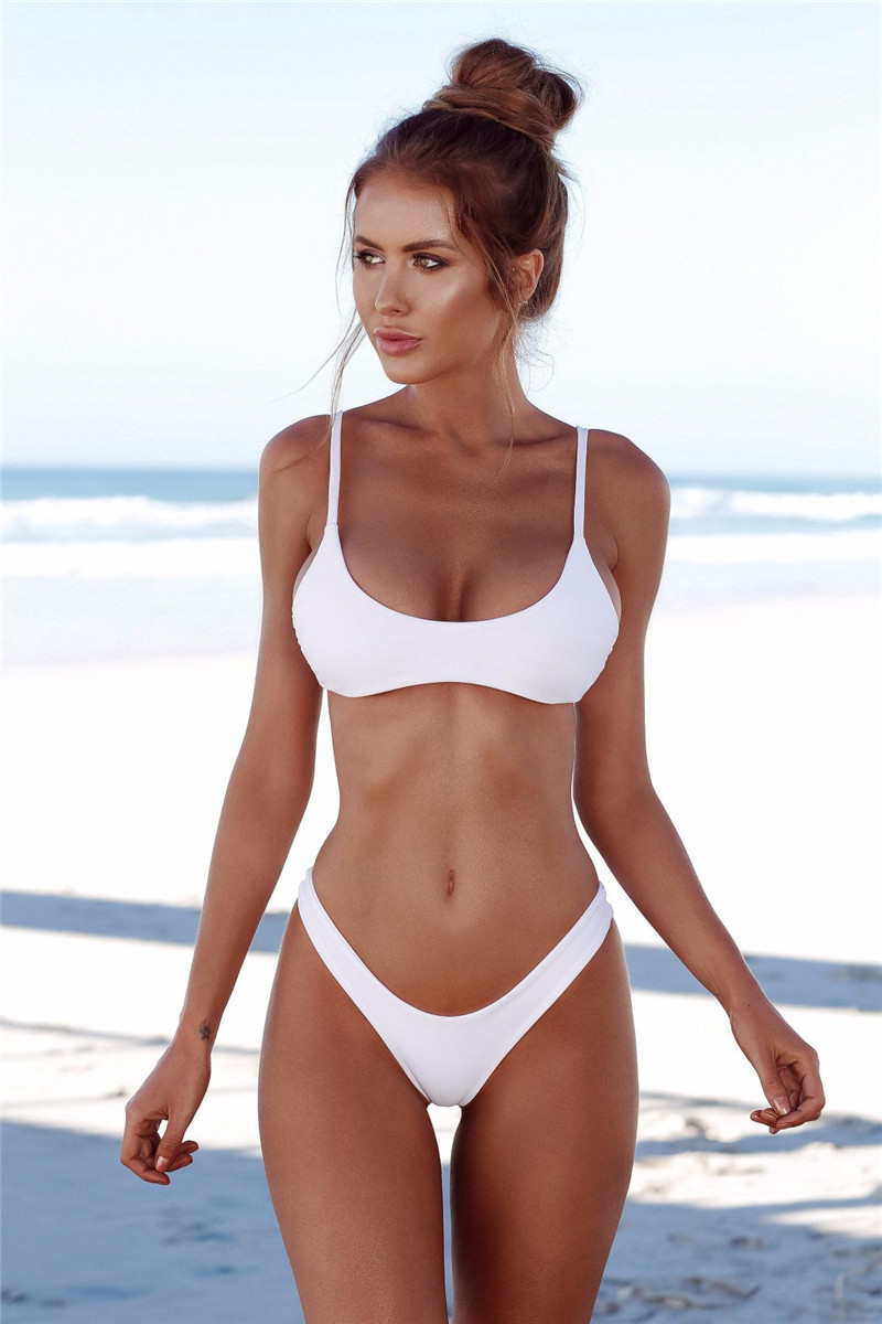 2019 New Style Large Size Two-piece Swimsuits Women's Europe And America Foreign Trade Hot Selling Solid Color Sexy Bikini Two-P