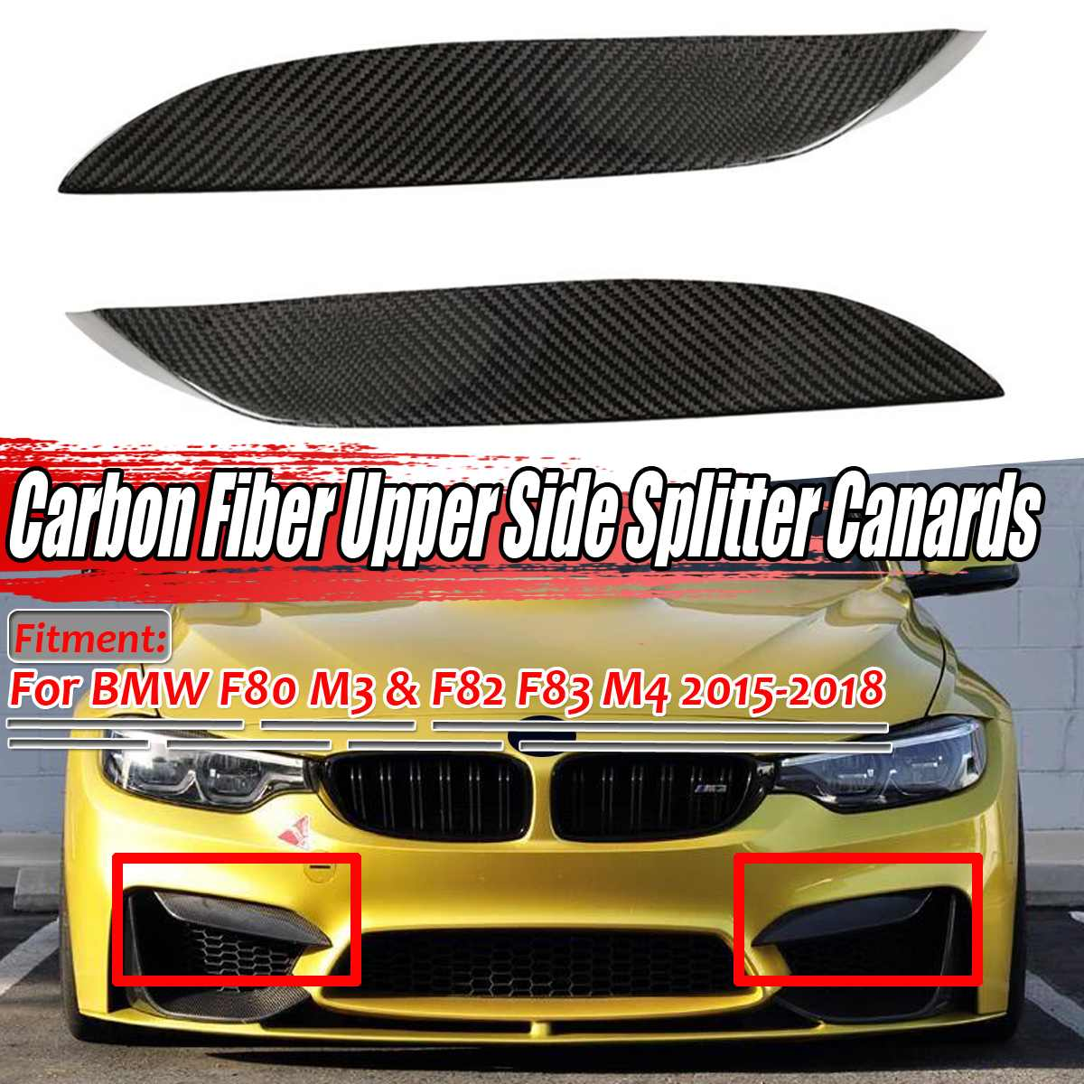 Real Carbon Fiber Rear Bumper Splitter Trim Fit For BMW M3 F80 M4 F82 Tape 14up